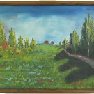 italy Vintage Painting Landscape Tuscany Summer Tree Lined Hill Path Villa Gino
