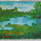 Folk Art Naive Landscape Vintage Painting Flowering Summer River Original Bain