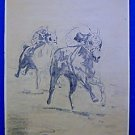 Vintage Original Modernist Drawing Race Horses Track Jockeys Running  Bradford
