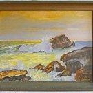 Folk Art Naive Plein Air Carmel Spray Vintage Painting California Sea Coast