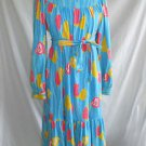 Deadstock The Lilly Pulitzer Maxi Dress Vintage Shift Long Sleeve Ruffle Belt S