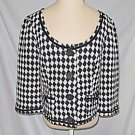 Trina Turk Black White Jacket  Cropped Swing Baby Doll Scoop Deadstock NOS 10
