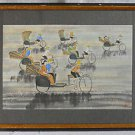 Naive Vintage Painting Watercolor Rickshaw Whimsical Race Multiple Tiny Figures