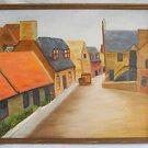 Folk Art Naive Cubist Vintage Painting Village Street Primitive Earthtone Modern