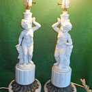 Lamps Hollywood Regency Cherub Baroque Vintage Pair White Ceramic Marble Rococo