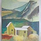Folk Cubist Vintage Painting Mountain Farm Hay Fields Landscape Architectural