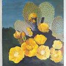 Vintage Folk Naive Desert Western Painting Blooming Cactus Flowers Johnstone