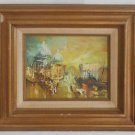 Abstract Vintage Modernist Original Oil Painting Paris Sacre Coeur France