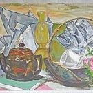 Modernist Vintage Painting Oversize Objects Still Life Pottery Lamp Bregman 86