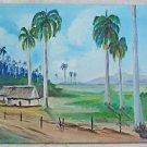 Folk Naive Vintage Original Painting Bouigue Cuba Tropic Landscape Thatch House