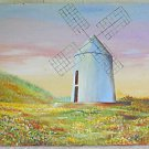 Folk Naive Vintage Painting Architectural Windmill Wild Flower Landscape Bregman