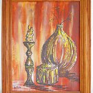 Modernist Vintage Painting Orange Still Life Eakins Mid Century Burning Candle