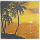 Naive Painting Moonrise Miami Vintage Original Florida Tropical Southern  Blake