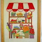 Vintage Needlework Flowers Florist Floral Stand Vendor Large Scale Daisy Framed