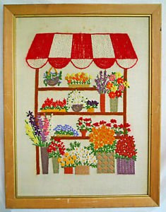 Vintage Needlework Flowers Florist Floral Stand Vendor Large Scale Daisy Framed