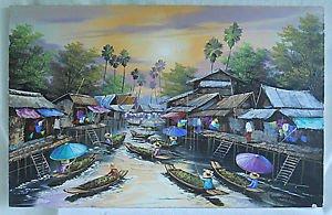 Vintage Painting Asian Fluvial River Boats Market Lively Landscape Peng 89