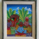 Vintage Original Haitian Painting Salomon Ulrick Male Female Fruit Seller