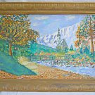 Folk Art Impressionist Vintage Painting Alpine Landscape Raging Torrent Bruno