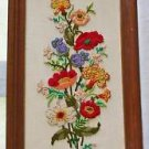 Crewel Embroidery Vintage Panel Tall Flowers Modernist Framed Anemone Wise 1975