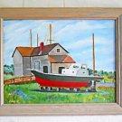 Folk Naive Vintage Painting  Sayville Long Island New York Boat Yard Krumenacker