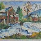 Folk Art Vintage 60s Original Impasto Painting Watermill Country Landscape RML