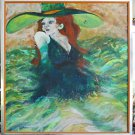 Grace Coddington Portrait Huge Green Hat Vintage Original Painting  Bessell