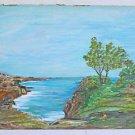 Folk Naive Vintage Painting  La Jolla Torrey Pines Seascape California L Nellson