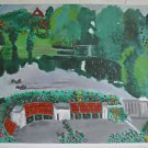 Naive Folk Art Painting Ducks in the Park Ornithology Esplanade Floral Berta Nae