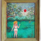 Vintage Folk Naive Painting Summertime Paradise Girl Romper Red Balloon Fites
