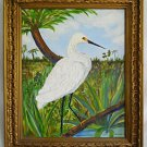 Folk Vintage Florida Painting  White Heron Impasto Ornithology Everglades Carson