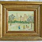 Folk Art Naive Vintage Painting Central Park Skate Rink NY Kids Skyline Granzin