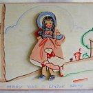Vintage Naive Painted Carved Plaque Wood Mary Lamb Uncle Bernie Hanging Nursery