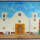Folk Art Naive Vintage Painting Southwest Mission Architecture Old Man Laughlin