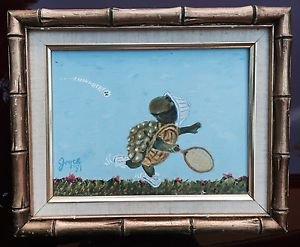 Vintage Folk Painting Turtle Playing Tennis Wearing Sneakers Gilded Frame Joyce