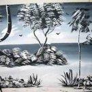 Vintage  Modern Tropical Oil Painting J.Thorp Moody Gray Beach Monochromatic