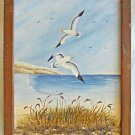 Ornithology Naive Folk Vintage Painting Seascape Beach Dunes Seagulls Pattould
