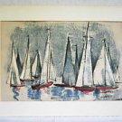 Modernist Sailboats Racing Regatta Marine Vintage Painting Mixed Media Kerr