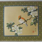 Ornithology Vintage Chinese Painting  Bird Flower Branch Wood Block Mat Framed