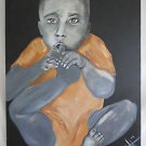 Outsider Folk Art Painting Huge Black Baby Sucking Toe Moody Gothic Scary Eyes