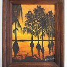 Vintage Painting Florida Everglades Swamp Mangrove Tropic Highway Sunset Nobile