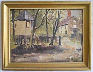 Architectural Ostindien Antique Vintage Painting Folk Country Estate Rase Framed