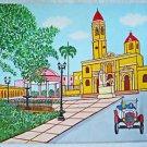 Vintage Original Cuban Folk Painting Cuba Manuel Ferrer Cathedral Ford T Old Car