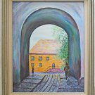 Folk Art Vintage Painting Architectural Thru Stone Arch City House Bregman