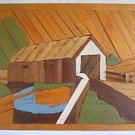 Vintage Lath Carving Art Folk Painted Plank Wood Painting Covered Bridge