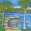 Folk Outsider Art Vintage 70s  Painting Miami Florida Matheson Hammock E Berman
