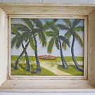 Vintage Folk Art Naive Original Tropical Painting Miami South Beach Florida E.S.