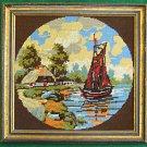 Vintage Needlepoint Baltic Schooner Seascape Regency Gilded Painted Frame Norway