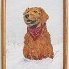 Folk Art Naive Vintage Painting Golden Retreiver Dog Snow  Bandanna Januski