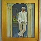 Cuba Painting Cuban Folk Art Elegant Man in White Antique Shop Doorway A.Carcher