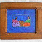 Naive Folk Art Outsider Vintage Painting Spacey Icono Water Vendors Blues Women